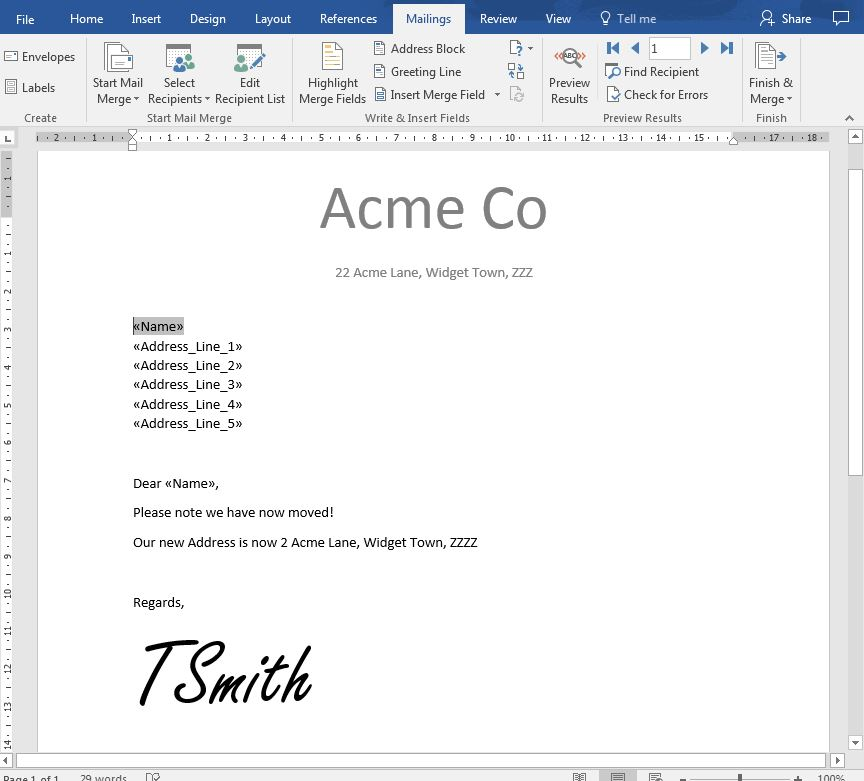 MS Word Mail Merge Document