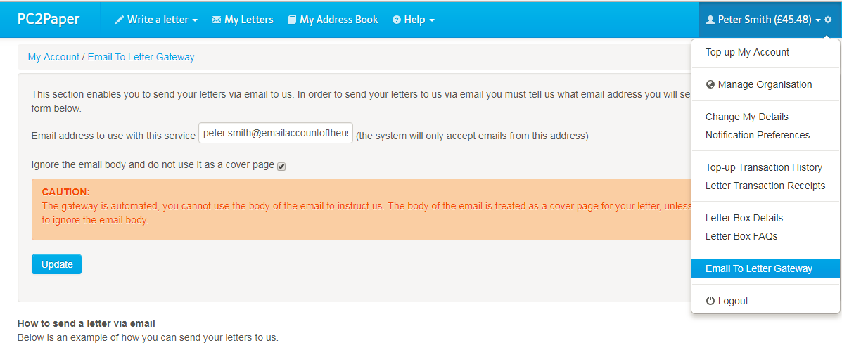 Shows how to configure the Email to letter Gateway
