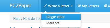 from here you can choose if you would like to send a mail shot letter to many people or a single letter letter to one person